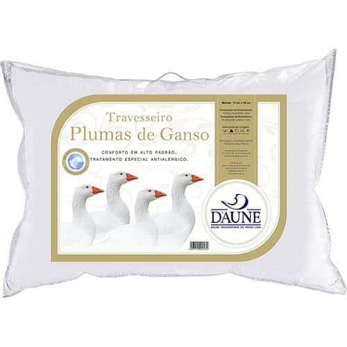 travesseiro plumas de ganso antialérgico