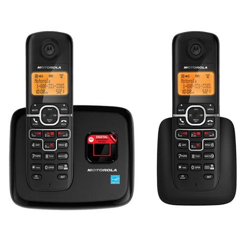 Telefone sem fio preto com base e extensão