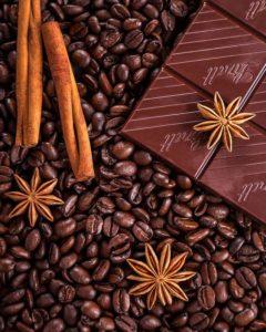 Café, canela, chocolate e anís