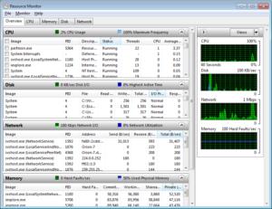 Monitor de desempenho do Windows 7